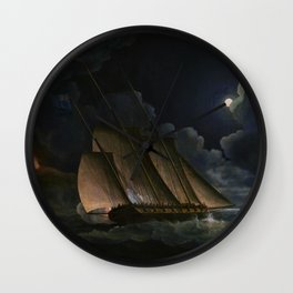 12,000pixel-500dpi - A Lugger And A Brig In Chase By Moonlight Off A Coast - Thomas Buttersworth Wall Clock
