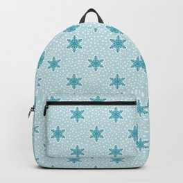 Teal Blue Snowflake Pattern Backpack