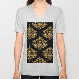 Black and faux gold glitter damasks patte Unisex V-Neck