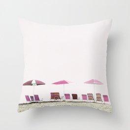 Pink and Plum Beach Umbrellas Throw Pillow