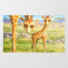 Giraffe and Calf Rug
