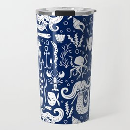 Under The Sea Navy Blue Travel Mug