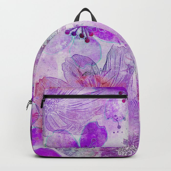 Pink Purple Watercolor Painted Flower Mix Backpack