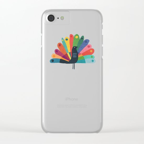 Whimsical Peacok Clear iPhone Case