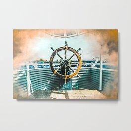 Ship Helm #watercolor #digitalpainting Metal Print