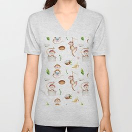 Tropical pink brown green watercolor monkey coconut floral Unisex V-Neck