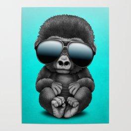Cute Baby Gorilla Wearing Sunglasses Poster