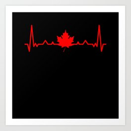 Canada Maple Leaf Heartbeat Art Print