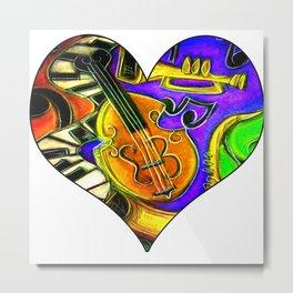 Mardi Gras Jazz Musical Heart Metal Print