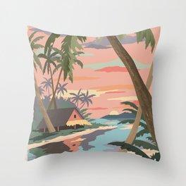 Aloha Hawaii Travel Poster Throw Pillow