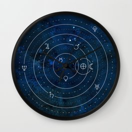 Planets Symbols on Nightsky Wall Clock