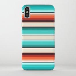 Navajo White, Turquoise and Burnt Orange Southwest Serape Blanket Stripes iPhone Case