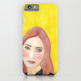 Diane on Gold Original Watercolor Portrait Painting iPhone Case