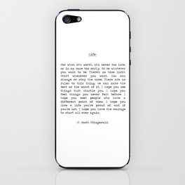 Life quote F. Scott Fitzgerald iPhone Skin