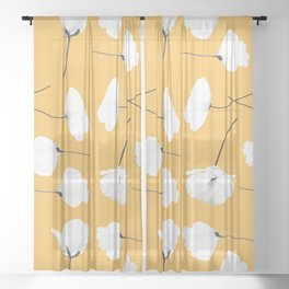 Poppies on mustard Sheer Curtain
