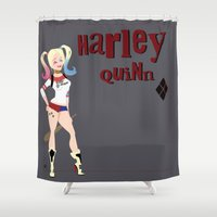 harley quinn Shower Curtains featuring Harley quinn by Fraopic