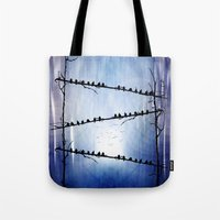 justin timberlake Tote Bags featuring Barricade by Viviana Gonzalez