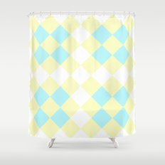 Checkers Yellow/Blue Shower Curtain