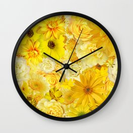 Yellow Rose Bouquet with Gerbera Daisy Flowers Wall Clock