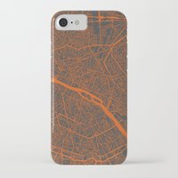 paris map iPhone & iPod Cases featuring Paris map by Map Map Maps