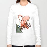 writer Long Sleeve T-shirts featuring Octopus Writer by Zekis Art