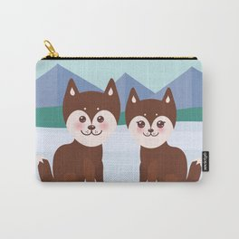 Kawaii funny brown husky dog, face with large eyes and pink cheeks, boy and girl, mountain landscape Carry-All Pouch