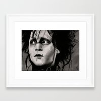 edward scissorhands Framed Art Prints featuring Edward Scissorhands by Fruzsina Nagy