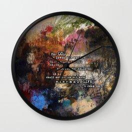 John 3:16 Bible Verse Scripture Abstract Art Painting Christian Inspired Wall Clock