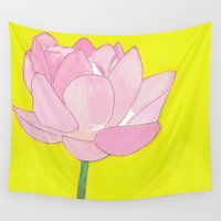 lotus flower Wall Tapestries featuring Lotus by Cyrille Savelieff