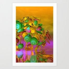 fancy tree and orange sky Art Print