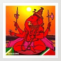 ganesh Art Prints featuring Ganesh by SPACEZING