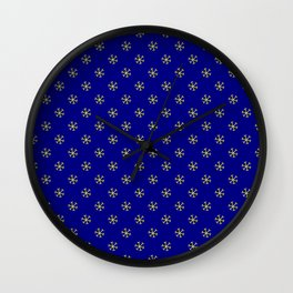 Electric Yellow on Navy Blue Snowflakes Wall Clock
