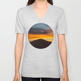 Mid Century Modern Round Circle Photo Graphic Design Orange And Blue Sunset Pine Forest Hill Unisex V-Neck