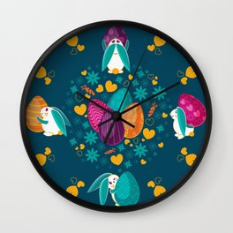 Busy Easter Bunnies Wall Clock