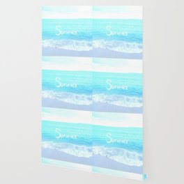Emerald Blue wave Summer Sea Beach text Wallpaper