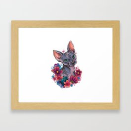 Neo Traditional Sphynx cat and flowers Framed Art Print