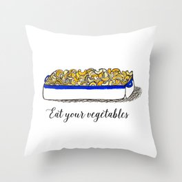 Illustration: Eat Your Vegetables, Food Art, Kitchen Art, Mac n' Cheese Throw Pillow
