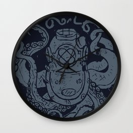Mark V Octopus - navy Wall Clock