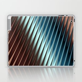 Stripey Pins Teal & Taupe - Fractal Art Laptop & iPad Skin