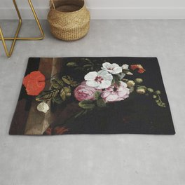 """Cornelis Kick """"Roses, poppies, hollyhocks, a marigold and other flowers"""" Rug"""