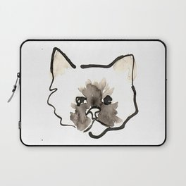Watercolor and Ink Cute Cat Print Laptop Sleeve