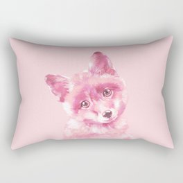 Baby Fox in Pink Rectangular Pillow