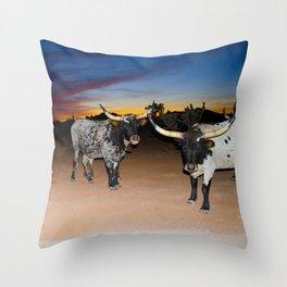 Bulls Night Out Throw Pillow