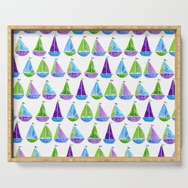 Watercolor colorful boats Serving Tray
