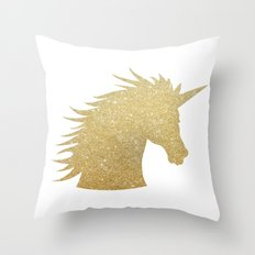 Gold Glitter Unicorn Throw Pillow