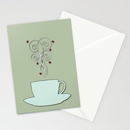 Aaah...coffee...  Retro / Vintage Coffee Print on Silver Bubbles Background Stationery Cards