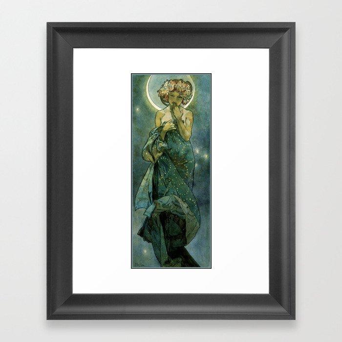 "Alphonse Mucha ""The Moon and the Stars Series: The Moon"" Gerahmter Kunstdruck"