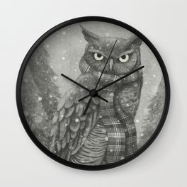 Winter Owl Wall Clock