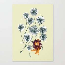Lion on dandelion Canvas Print
