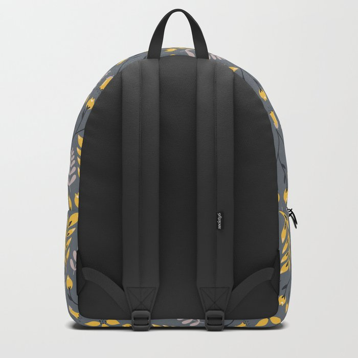 Mod Floral Yellow on Gray Backpack